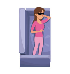 Character woman with pink pajama and eye mask vector