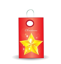 christmas tag on white vector image