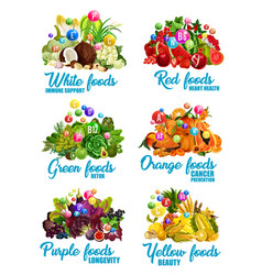 Color food icons of healthy diet nutrition vector