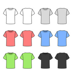 Colored t-shirts set on white background vector