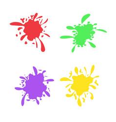 colorful ink spots set splash splatter abstract vector image