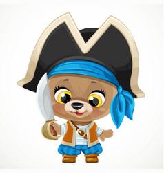 cute cartoon baby bear dressed in pirate costume vector image