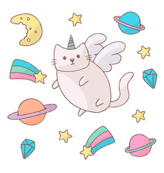 cute white cat in a unicorn costume with wings and vector image