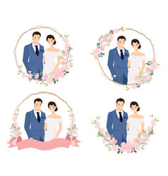 cute young wedding couple in blue suit in cherry vector image