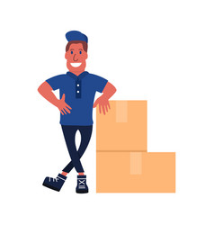 Deliveryman with parcels box vector
