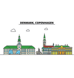 Denmark copenhagen city skyline architecture vector