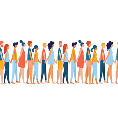 different multiethnic women and men group crowd vector image
