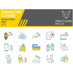 Disinfection color line icon set cleaning symbols vector