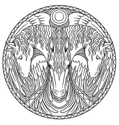 Doodle coloring in a circle three horses vector