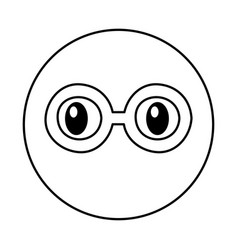 Emoticon face with glasses kawaii style vector