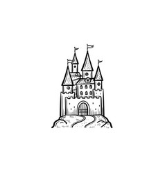 fairytale castle hand drawn sketch icon vector image