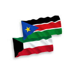 Flags republic south sudan and kuwait vector
