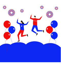 fourth july flat character jumping on sky vector image