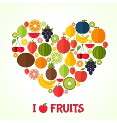 Fruits heart in flat style Colorful template for vector image