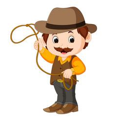 funny cartoon cowboy vector image