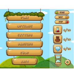 Game template with different buttons vector