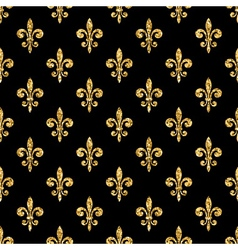 Golden fleur-de-lis seamless pattern black 1 vector