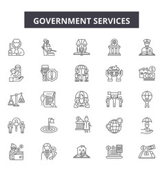 Government services line icons signs set vector