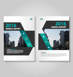 Green black annual report Leaflet brochure set vector image