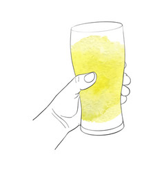 hand with glass for beer vector image