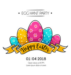 Happy easter poster with easter eggs vector