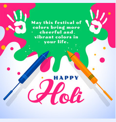 Happy holi wishes card with color splashes vector