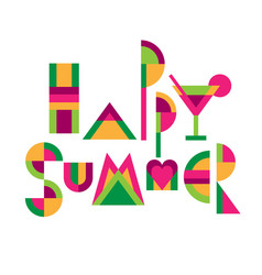 happy summer lettering title vector image
