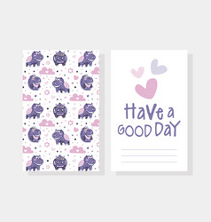 Have a good day card template with cute bahippo vector