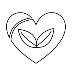 heart with leafs isolated icon design vector image