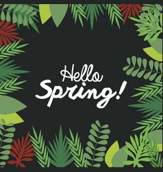 hello spring letter decorating leaf natural dark vector image