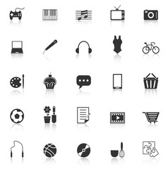 Hobby icons with reflect on white background vector image