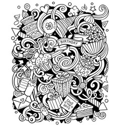 holiday hand drawn doodles vector image