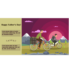 horizontal flat banner written happy fathers day vector image