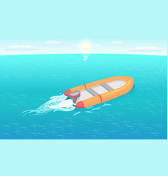 inflatable rescue boat sailing in deep blue waters vector image