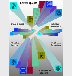 Infographics template with group of colored prisms vector