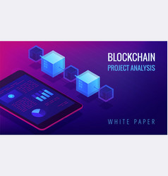 isometric blockchain project analysis concept vector image