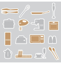 kitchen stickers set eps10 vector image