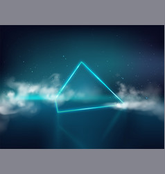 Laser rays pyramid in smoke realistic vector