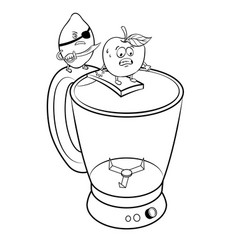 Lemon pirate and apple coloring book vector