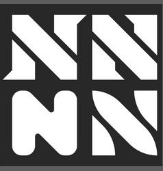Letter n logo set black and white minimal style vector