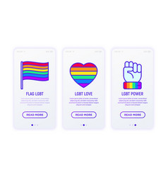 lgbt thin line icons free love flag support vector image