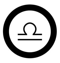 libra symbol zodiac icon black color in round vector image