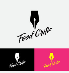 Logo writing pen with spoon silhouette cook blog vector