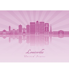 Louisville skyline in purple radiant orchid vector