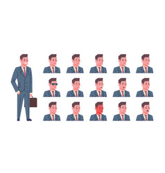male smiling emotion icons set isolated avatar man vector image