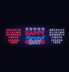 memorial day day neon sign vector image