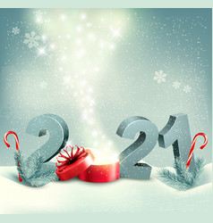 merry christmas retro background with 2021 vector image