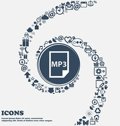 mp3 icon in the center Around the many beautiful vector image
