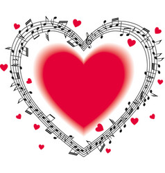 Musical staff with notes heart-shaped vector