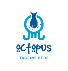 octopus logo design with fish vector image